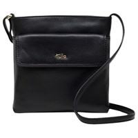 Tula Nappa Originals Pebble Leather Medium Zip Top Cross Body Bag Black