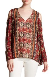 Angie Cold Shoulder Printed Blouse Red