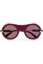 Calvin Klein 205W39nyc Round Frame Acetate And Silver Tone Sunglasses Burgundy
