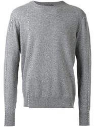 Raf Simons Round Neck Stitch Sweater Grey