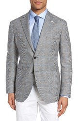 L.B.M. Men's 1911 Unconstructed Classic Fit Windowpane Linen And Wool Sport Coat Light Pastel Grey
