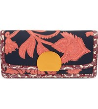 Dries Van Noten Woven Floral Leather Clutch Navy