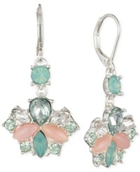 Nine West Silver Tone Stone And Crystal Small Drop Earrings