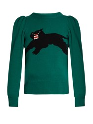 Gucci Panther Intarsia Knit Wool Sweater Green
