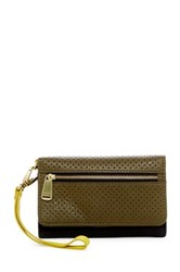 Fossil Preston Perforated Phone Wallet Green