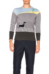 Thom Browne Beach Story Cashmere Intarsia Story In Gray