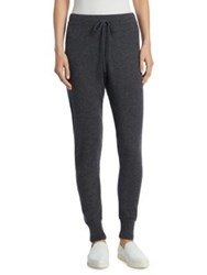 Saks Fifth Avenue Collection Cashmere Drawstring Joggers Black Cream Heather Chalkboard Heather
