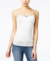 Planet Gold Juniors' Strappy Tank Top Bright White
