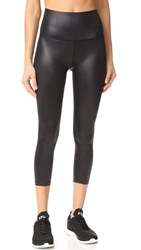 Beyond Yoga Gloss Over High Waist Capri Leggings Black Gloss