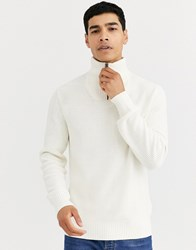 Celio High Neck Jumper With Zip In White