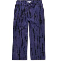 Sasquatchfabrix. Cropped Tie Dyed Tencel Drawstring Trousers Purple