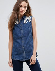 Vero Moda Embroidered Lace Shoulder Denim Shirt Med Blue Denim