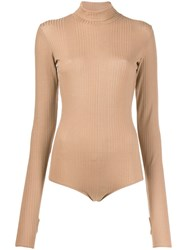 Maison Martin Margiela Mm6 Ribbed Bodysuit Neutrals