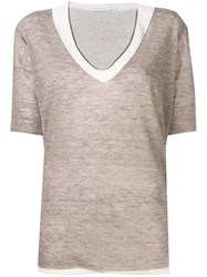 Fabiana Filippi Layered Knitted Top Neutrals
