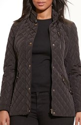 Lauren Ralph Lauren Plus Size Women's Quilted Jacket With Faux Leather Trim