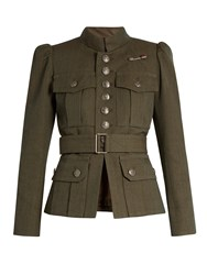 Marc Jacobs Button Down Military Wool Jacket Khaki
