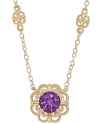 Macy's Amethyst 3 4 Ct. T.W. And Diamond Accent Filigree Pendant Necklace In 14K Gold Purple