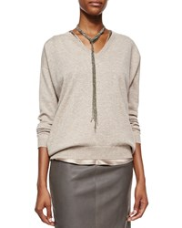 Long Pull Through Pyrite Necklace Brunello Cucinelli Silver