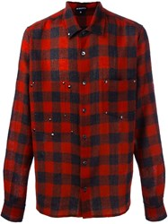 Ann Demeulemeester Plaid Button Down Shirt Black