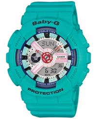 G Shock Baby G Women's Analog Digital Turquoise Resin Strap Watch 46X43mm Ba110sn 3A Bright Blue