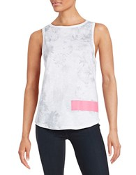 Betsey Johnson Floral Cotton Tank Top Grey