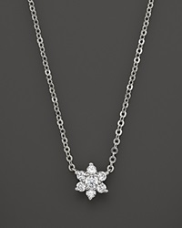 Bloomingdale's Small Diamond Flower Cluster Pendant In 14K White Gold .10 Ct. T.W. White Gold White Diamonds