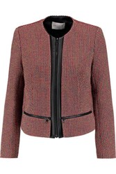 Sandro Violaine Leather Trimmed Metallic Tweed Jacket Multi