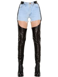 Kaimin Vintage Denim Shorts And Leather Chaps