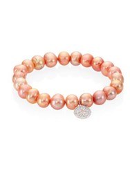 Sydney Evan Mini Starburst Diamond And 8Mm Freshwater Pearl Beaded Bracelet Champagne
