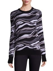 Equipment Ondine Zebra Crewneck Merino Wool Sweater Black Multi