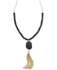 Inc International Concepts Long Druzy Crystal Tassel Necklace Only At Macy's Black