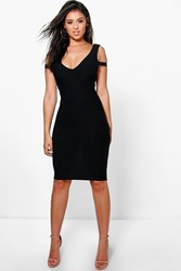 Boohoo Plunge Open Shoulder Bodycon Dress Black
