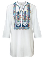 East Multicolour Embroidered Blouse White