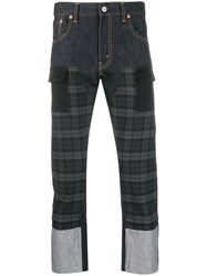 Junya Watanabe Checked Cropped Jeans Blue