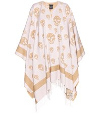 Alexander Mcqueen Wool And Cashmere Cape White