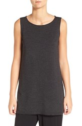 Eileen Fisher Women's Merino Wool Jersey Ballet Neck Sleeveless Sweater Charcoal