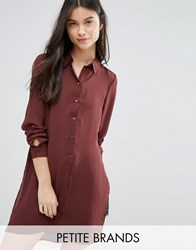 Vero Moda Petite Shirt Dress With Slits Decandent Chocolate Brown