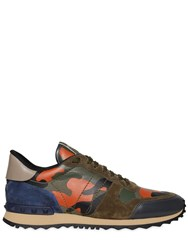 Valentino Rockrunner Canvas And Leather Sneakers