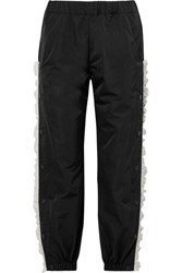 Sandy Liang Sonata Lace Trimmed Canvas Track Pants Black
