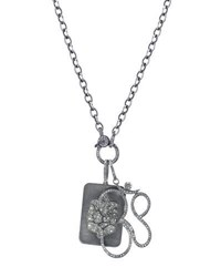 Sheryl Lowe Link Chain Necklace With Diamond Ganesh Dog Tag And Om Pendants