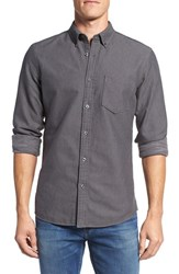 Nordstrom Men's Big And Tall Men's Shop Trim Fit Brushed Twill Sport Shirt Dark Grey Charcoal Heather