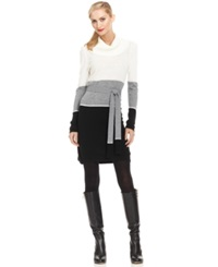 Ny Collection Belted Cowl Neck Colorblock Sweater Dress White Grey Black