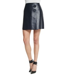 Adam By Adam Lippes A Line Leather Mini Wrap Skirt Navy