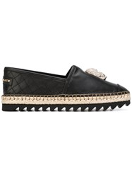 Philipp Plein Avorio Espadrilles Women Raffia Leather Rubber 38 Black