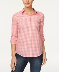 Charter Club Cotton Gingham Print Shirt Only At Macy's Glamour Pink Combo