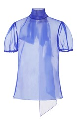 Bibhu Mohapatra Sheer Short Sleeve Bow Top Blue