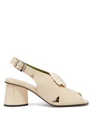 Gucci Shell Embellished Leather Slingback Sandals Cream
