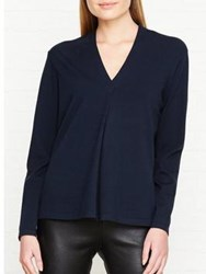 Reiss Agata Knitted Wrap Top Navy