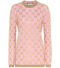 Gucci Gg Crystal Embellished Wool Sweater Pink