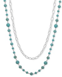 Ralph Lauren Two In One Strand Necklace 26 Turquoise Silver